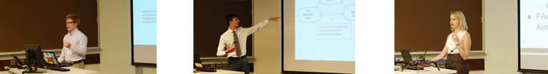 T.J. Tkacik, Brian Gottfried, and Hannah Rae Kerner present during the 8th Annual Undergraduate Research Symposium