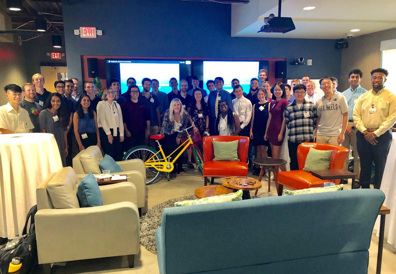 The inaugural UNC CS Alumni Mentor Program cohort at the kickoff celebration held in Google's Chapel Hill Office in September 2019