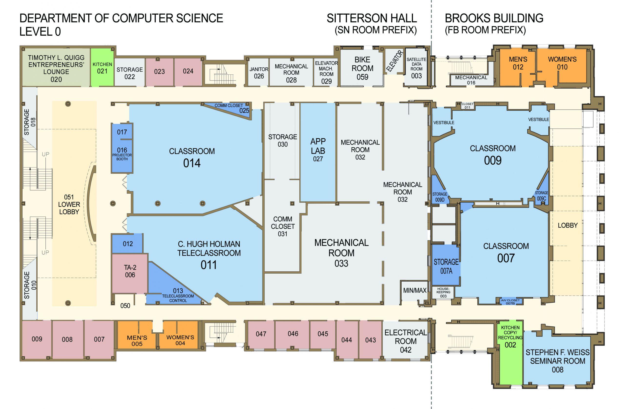 Level 0 Floor Plan, Sitterson Hall & Brooks Bldg