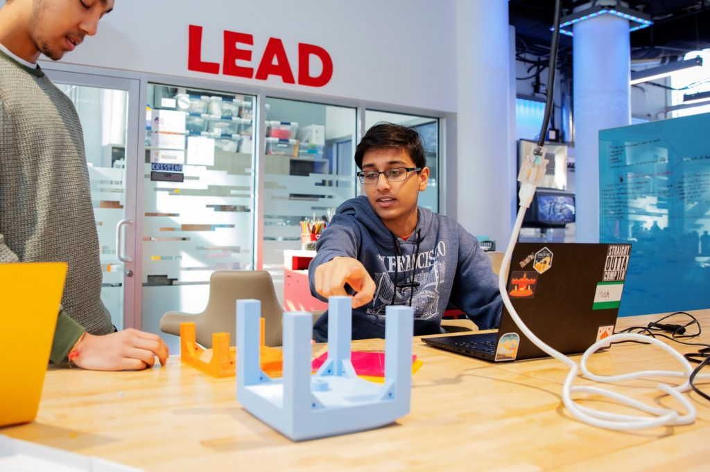 Students in the Makerspace at UNC
